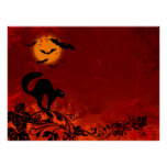 Halloween Black Cat and Bats Print
