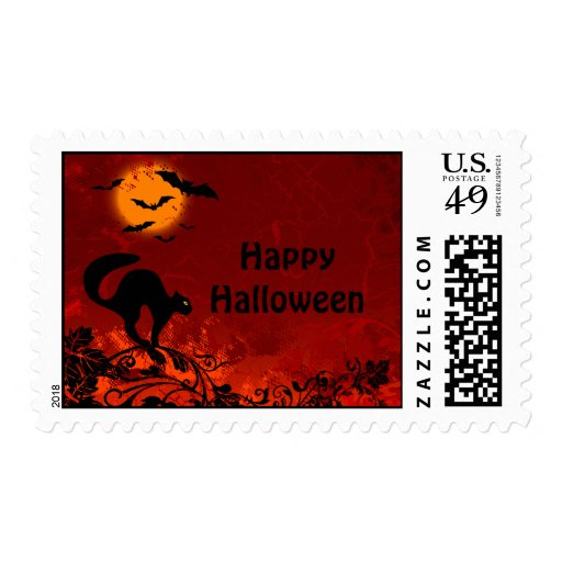 Halloween Black Cat and Bats Stamps