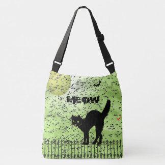 Halloween Black Cat and Birds on Green Grunge Crossbody Bag