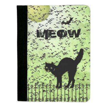 Halloween Themed Halloween Black Cat and Birds on Green Grunge Padfolio