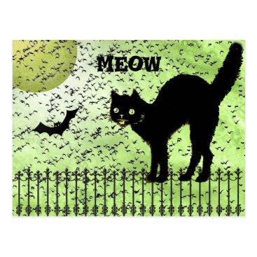 Halloween Themed Halloween Black Cat and Birds on Green Grunge Postcard