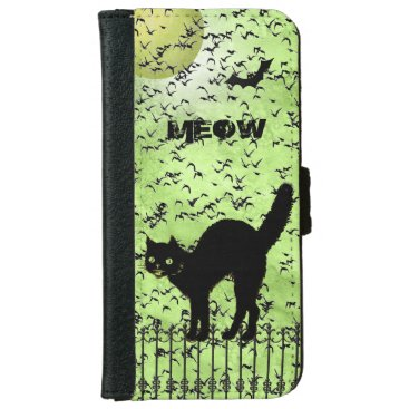 Halloween Themed Halloween Black Cat and Birds on Green Grunge Wallet Phone Case For iPhone 6/6s