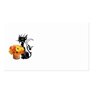 Halloween Black Cat and Candy Corn Business Card Templates