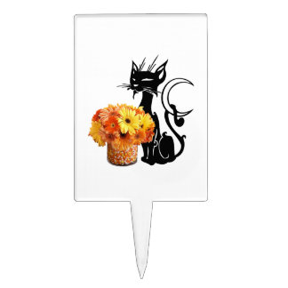 Halloween Black Cat and Candy Corn Cake Topper