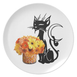 Halloween Black Cat and Candy Corn Dinner Plate