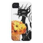Halloween Black Cat and Candy Corn iPhone 4 Cases
