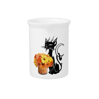Halloween Black Cat and Candy Corn Pitcher