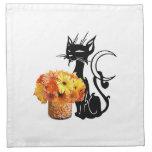 Halloween Black Cat and Candy Corn Printed Napkin