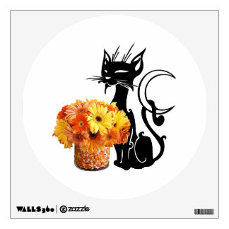 Halloween Black Cat and Candy Corn Wall Sticker