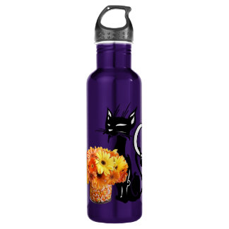 Halloween Black Cat and Candy Corn Water Bottle