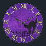"""Halloween: Black Cat and Fence Silhouette Large Clock<br><div class=""""desc"""">A graphic design for the Halloween season of a black cat sitting on a fence on a purple chenille background. There is a clock face with lime green Roman Numeral numbers and the word &quot;Halloween&quot; is repeated and scattered in the background.. This design will create a unique wall clock for...</div>"""