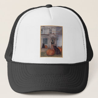 HALLOWEEN BLACK CAT and haunted house Trucker Hat