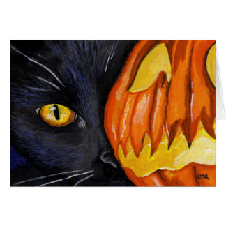 Halloween Black Cat and Pumpkin Card