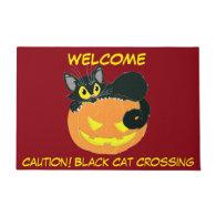 Halloween Black Cat and Pumpkin Doormat