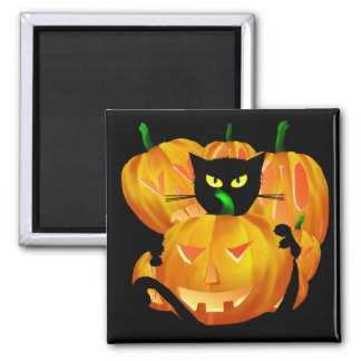Halloween Black Cat and Pumpkins blackbg 2 Inch Square Magnet