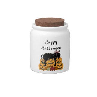 Halloween Black Cat and Pumpkins Candy Jars