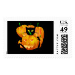 Halloween Black Cat and Pumpkins Card Postage