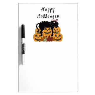 Halloween Black Cat and Pumpkins Dry-Erase Whiteboards