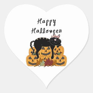 Halloween Black Cat and Pumpkins Heart Sticker