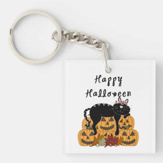 Halloween Black Cat and Pumpkins Keychain