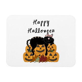 Halloween Black Cat and Pumpkins Magnet