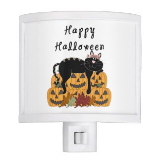 Halloween Black Cat and Pumpkins Nite Lites