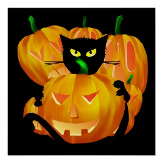 Halloween Black Cat and Pumpkins poster print