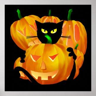 Halloween Black Cat and Pumpkins poster print