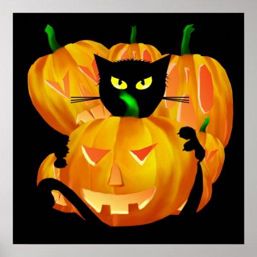 Halloween Black Cat and Pumpkins poster