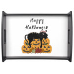 Halloween Black Cat and Pumpkins Serving Trays