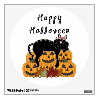 Halloween Black Cat and Pumpkins Wall Decal