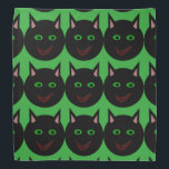"""Halloween Black Cat Bandana<br><div class=""""desc"""">This awesome bandana features a black cat with pointed ears,  bright green eyes and a sly red grin. This creepy kitty is perfect for Halloween or for cat lovers.</div>"""
