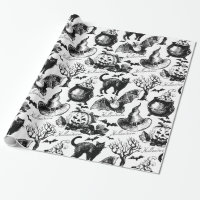Halloween Black Cat Bats Pumpkins Vintage Pattern Wrapping Paper