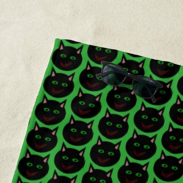 Beach Themed Halloween Black Cat Beach Towel