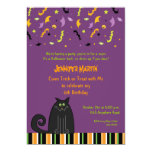 Halloween Black Cat Birthday Invitation