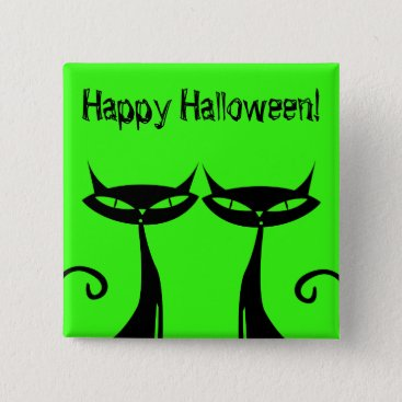 Halloween Themed Halloween Black Cat Button