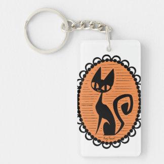 Halloween Black Cat Cameo Keychain