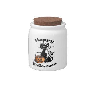 Halloween Black Cat Candy Jar