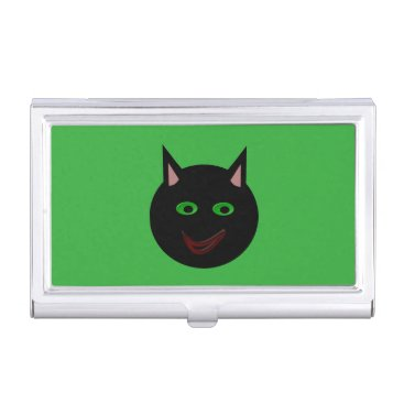 Professional Business Halloween Black Cat Card Holder