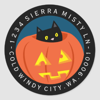Halloween Black Cat Circle Return Address Label