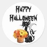 Halloween Black Cat Classic Round Sticker
