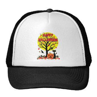 Halloween Black Cat, Crows and Yellow Moon Tshirt Hats