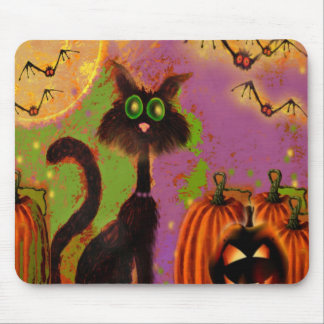 Halloween Black Cat Design Mouse Pad