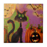 Halloween Black Cat Design Tiles