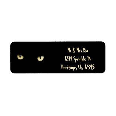black cat return address labels zazzlecom