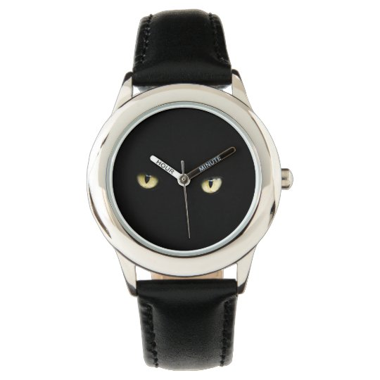 halloween black cat eyes wrist watch