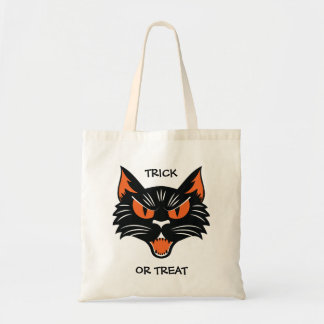 Halloween Black Cat Face Trick or Treat Bag