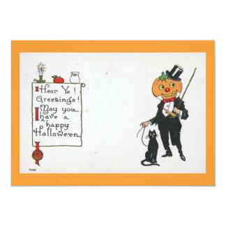 Halloween Black Cat Fantasy Vintage Card
