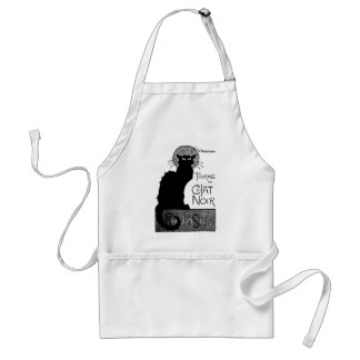 Halloween Black Cat French Words Chat Noir Text Adult Apron