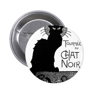 Halloween Black Cat French Words Chat Noir Text Button
